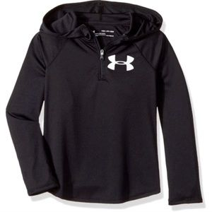 Under Armour Tech 1/4 Zip Black Hood Heatgear-YXL